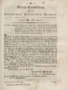 Gesetz-Sammlung für die Königlichen Preussischen Staaten, 5. Juni, 1855, nr. 19.