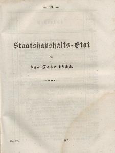 Gesetz-Sammlung für die Königlichen Preussischen Staaten, (Staatshaushalts-Etat füf das Jahr 1855)