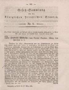 Gesetz-Sammlung für die Königlichen Preussischen Staaten, 17. März, 1856, nr. 8.