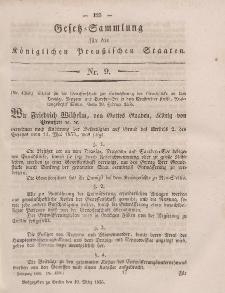 Gesetz-Sammlung für die Königlichen Preussischen Staaten, 19. März, 1856, nr. 9.