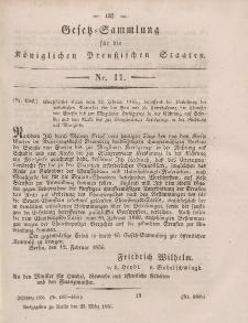 Gesetz-Sammlung für die Königlichen Preussischen Staaten, 22. März, 1856, nr. 11.