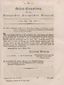 Gesetz-Sammlung für die Königlichen Preussischen Staaten, 12. April, 1856, nr. 15.