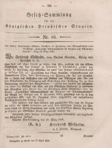 Gesetz-Sammlung für die Königlichen Preussischen Staaten, 17. April, 1856, nr. 16.