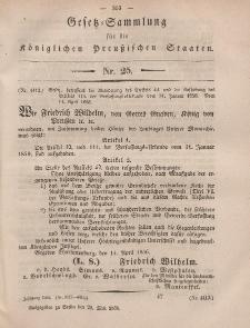 Gesetz-Sammlung für die Königlichen Preussischen Staaten, 29. Mai, 1856, nr. 25.