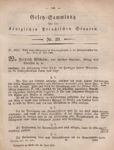 Gesetz-Sammlung für die Königlichen Preussischen Staaten, 16. Juni, 1856, nr. 29.