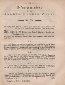 Gesetz-Sammlung für die Königlichen Preussischen Staaten, 23. Juli, 1856, nr. 39.