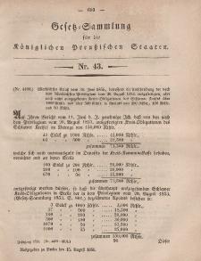 Gesetz-Sammlung für die Königlichen Preussischen Staaten, 15. August, 1856, nr. 43.