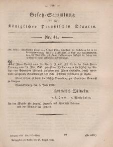 Gesetz-Sammlung für die Königlichen Preussischen Staaten, 25. August, 1856, nr. 44.