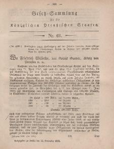 Gesetz-Sammlung für die Königlichen Preussischen Staaten, 24. November, 1856, nr. 61.