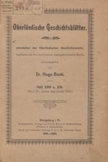 Oberländische Geschichtsblätter, Heft 18 u. 19, 1918-1920
