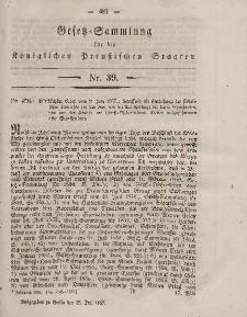 Gesetz-Sammlung für die Königlichen Preussischen Staaten, 23. Juli, 1857, nr. 39.