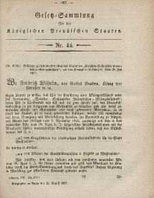 Gesetz-Sammlung für die Königlichen Preussischen Staaten, 21. August, 1857, nr. 44.