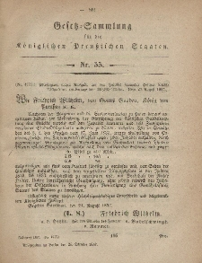 Gesetz-Sammlung für die Königlichen Preussischen Staaten, 26. Oktober, 1857, nr. 55.