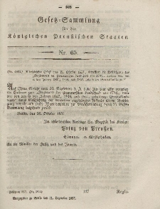Gesetz-Sammlung für die Königlichen Preussischen Staaten, 31. Dezember, 1857, nr. 65.