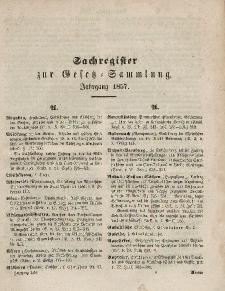 Gesetz-Sammlung für die Königlichen Preussischen Staaten, (Sachregister), 1857