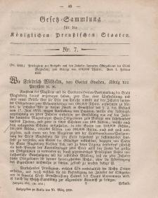 Gesetz-Sammlung für die Königlichen Preussischen Staaten, 20. März, 1858, nr. 7.