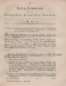 Gesetz-Sammlung für die Königlichen Preussischen Staaten, 8. April, 1858, nr. 11.