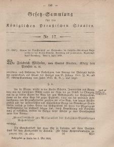 Gesetz-Sammlung für die Königlichen Preussischen Staaten, 1. Mai, 1858, nr. 17.