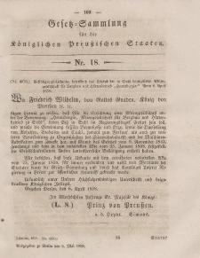 Gesetz-Sammlung für die Königlichen Preussischen Staaten, 6. Mai, 1858, nr. 18.