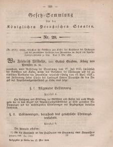 Gesetz-Sammlung für die Königlichen Preussischen Staaten, 15. Mai, 1858, nr. 20.