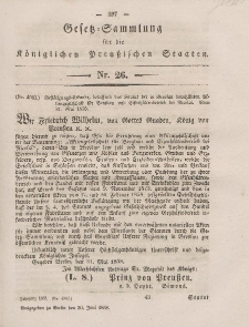 Gesetz-Sammlung für die Königlichen Preussischen Staaten, 30. Juni, 1858, nr. 26.