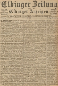 Elbinger Zeitung und Elbinger Anzeigen, Nr. 289 Sonntag 09. December 1894