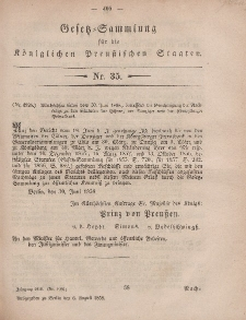 Gesetz-Sammlung für die Königlichen Preussischen Staaten, 6. August, 1858, nr. 35.