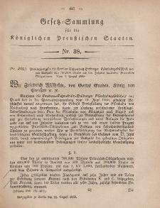 Gesetz-Sammlung für die Königlichen Preussischen Staaten, 21. August, 1858, nr. 38.