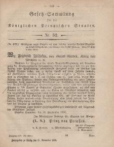 Gesetz-Sammlung für die Königlichen Preussischen Staaten, 17. November, 1858, nr. 52.