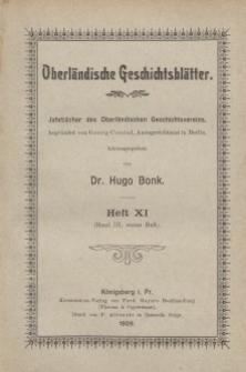 Oberländische Geschichtsblätter, Heft 11, 1909