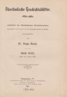 Oberländische Geschichtsblätter, Heft 13, 1911
