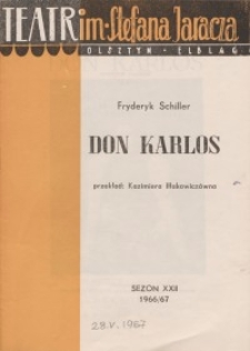 Don Karlos - Fryderyk Schiller