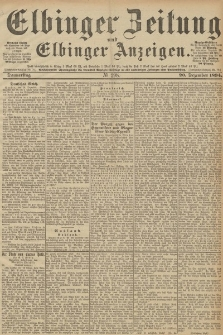 Elbinger Zeitung und Elbinger Anzeigen, Nr. 298 Donnerstag 20. December 1894