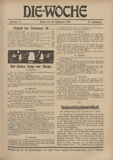 Die Woche : Moderne illustrierte Zeitschrift, 21. Jahrgang, 20. September 1919, Nr 38