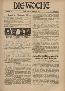 Die Woche : Moderne illustrierte Zeitschrift, 21. Jahrgang, 27. September 1919, Nr 39