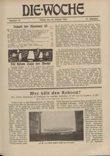 Die Woche : Moderne illustrierte Zeitschrift, 21. Jahrgang, 25. Oktober 1919, Nr 43