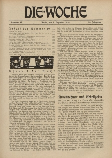 Die Woche : Moderne illustrierte Zeitschrift, 21. Jahrgang, 6. Dezember 1919, Nr 49