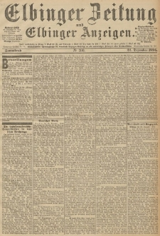 Elbinger Zeitung und Elbinger Anzeigen, Nr. 300 Sonnabend 22. December 1894