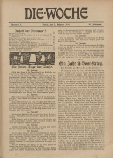 Die Woche, 20. Jahrgang, 2. Februar 1918, Nr 5