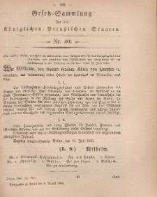 Gesetz-Sammlung für die Königlichen Preussischen Staaten, 8. August, 1866, nr. 40.