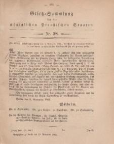 Gesetz-Sammlung für die Königlichen Preussischen Staaten, 19. November, 1866, nr. 58.