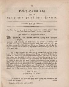 Gesetz-Sammlung für die Königlichen Preussischen Staaten, 1. Februar, 1860, nr. 3