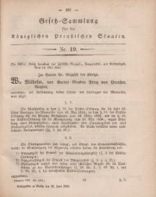 Gesetz-Sammlung für die Königlichen Preussischen Staaten, 25. Juni, 1860, nr. 19