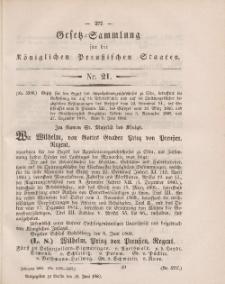 Gesetz-Sammlung für die Königlichen Preussischen Staaten, 30. Juni, 1860, nr. 21