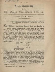 Gesetz-Sammlung für die Königlichen Preussischen Staaten, 3. Januar, 1867, nr. 1.