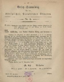 Gesetz-Sammlung für die Königlichen Preussischen Staaten, 9. Januar, 1867, nr. 3.
