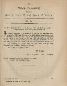 Gesetz-Sammlung für die Königlichen Preussischen Staaten, 25. Januar, 1867, nr. 7.