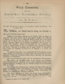 Gesetz-Sammlung für die Königlichen Preussischen Staaten, 28. Januar, 1867, nr. 8.