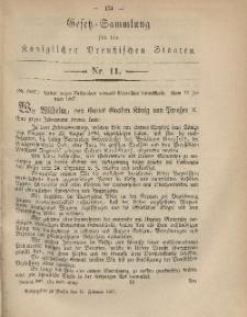 Gesetz-Sammlung für die Königlichen Preussischen Staaten, 11. Februar, 1867, nr. 11.