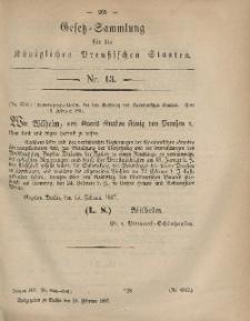 Gesetz-Sammlung für die Königlichen Preussischen Staaten, 15. Februar, 1867, nr. 13.